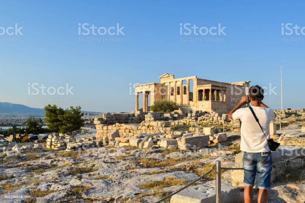 Ancient Greek Temple of the Erechtheum. stock photo