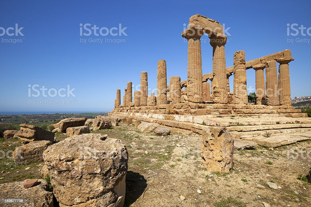 Ancient Greek temple on a clear day, Agrigento, Sicily, Italy royalty-free stock photo