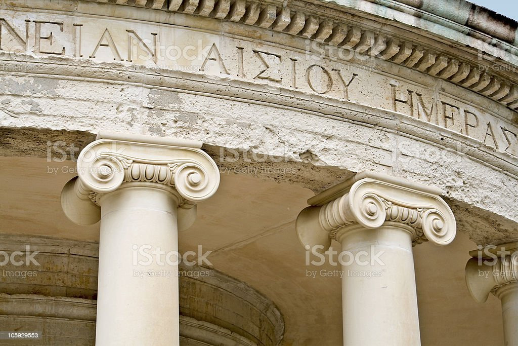 Ancient Greek temple (detail image) stock photo