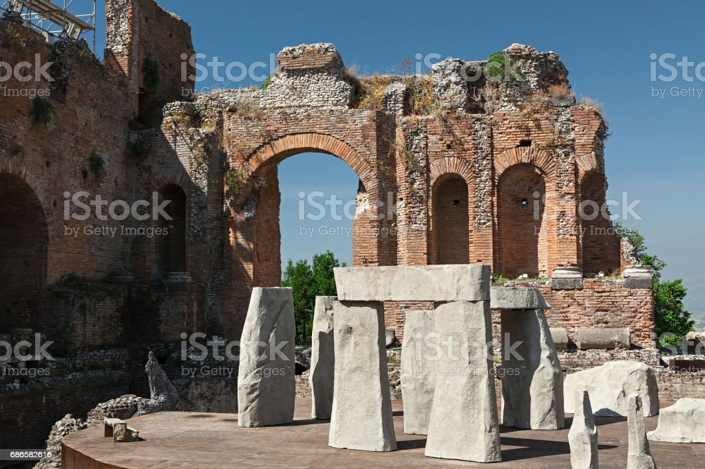 Ancient greek theater of Taormina, Sicily, Italy royalty-free stock photo