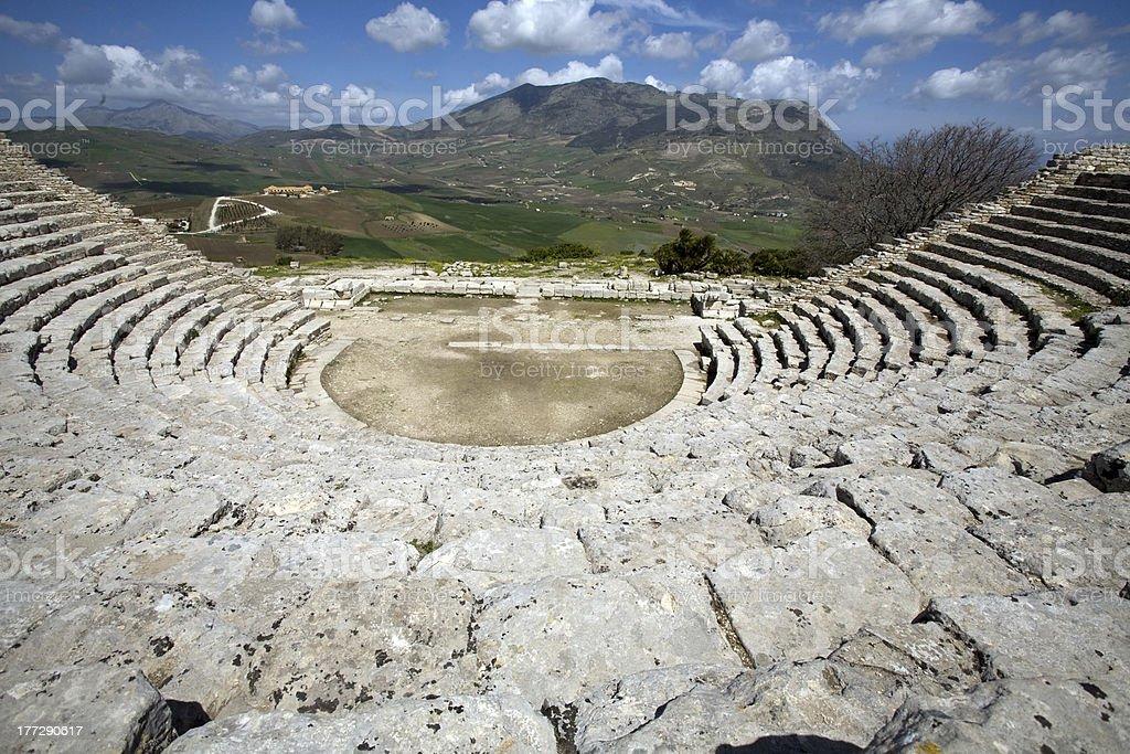 ancient Greek theatre, Segesta village, Sicily, Italy stock photo