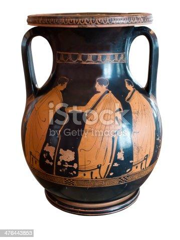 istock Ancient greek vase exposed in museum 476443853