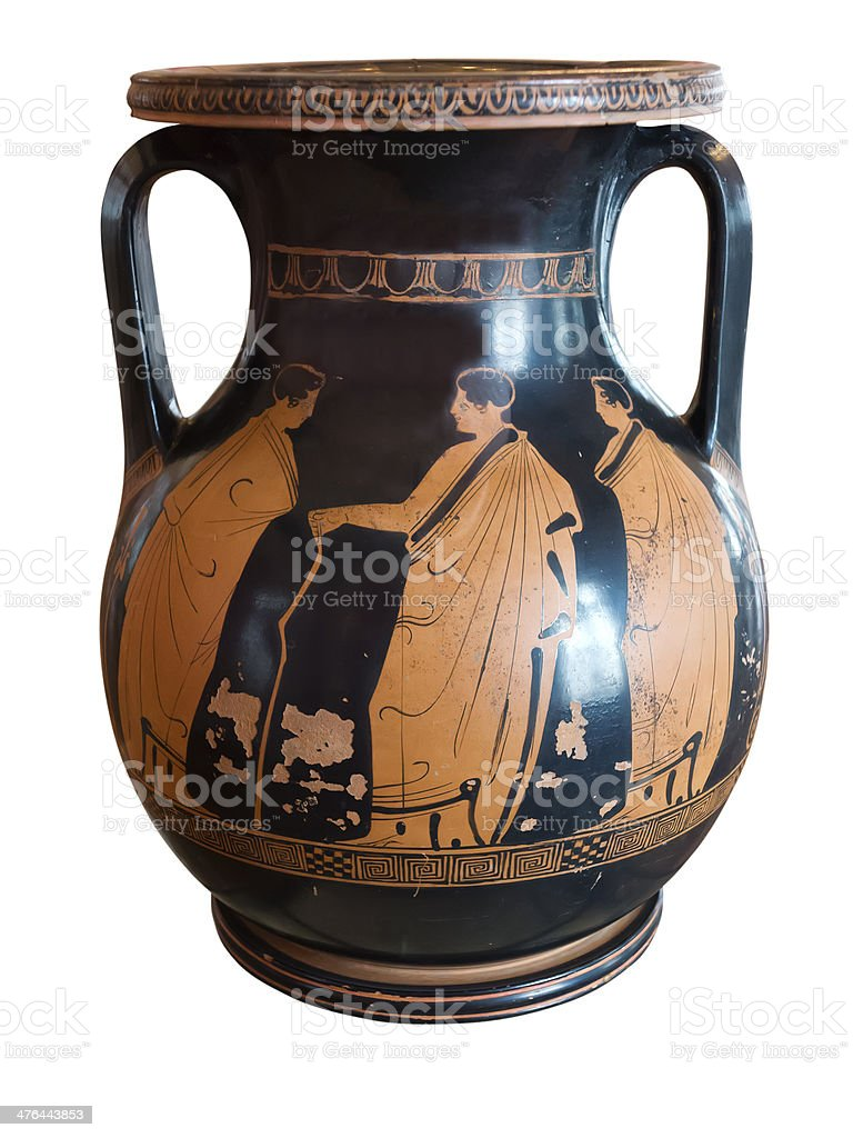 Ancient greek vase exposed in museum stock photo