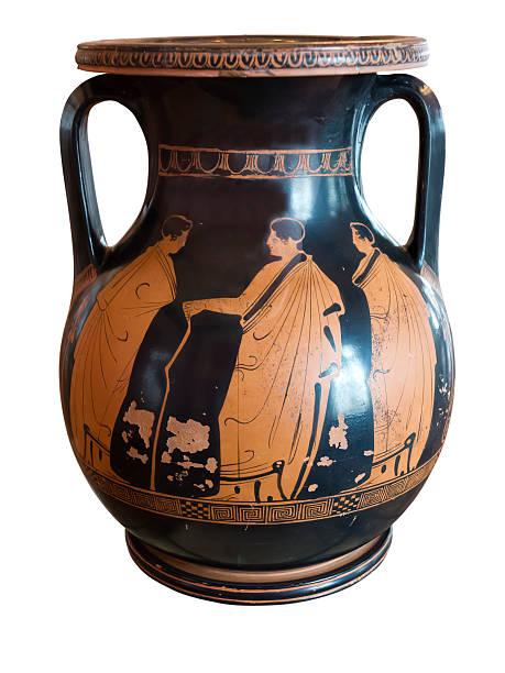 Ancient greek vase exposed in museum stock photo