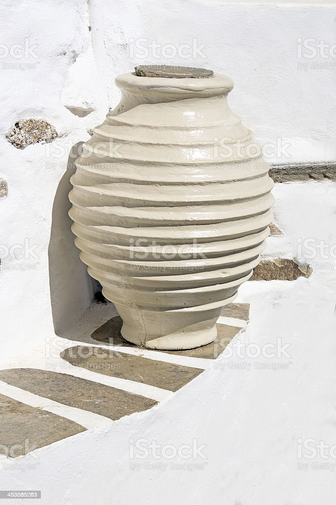 Ancient greek vase from the geometric age located on Sifnos royalty-free stock photo