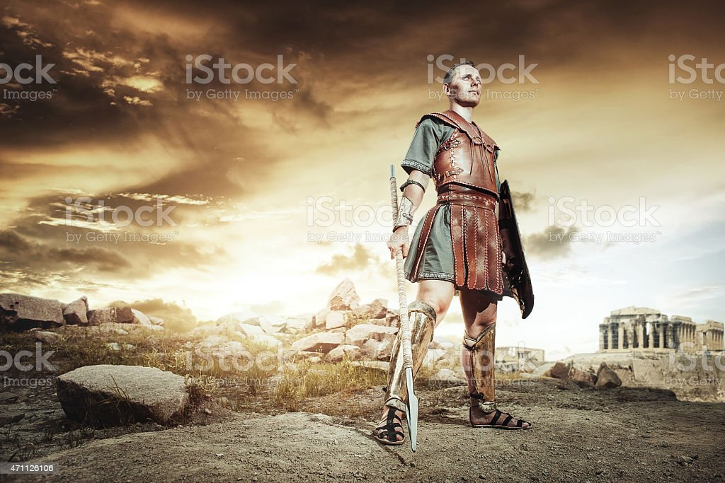 Ancient Greek warrior fighting in the combat stock photo