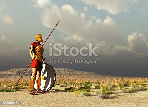 istock Ancient Greek warrior 538999484