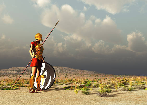 Ancient Greek warrior stock photo