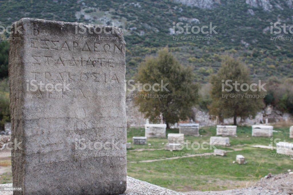 Ancient Greek Writing on Stone , Ephesus stock photo