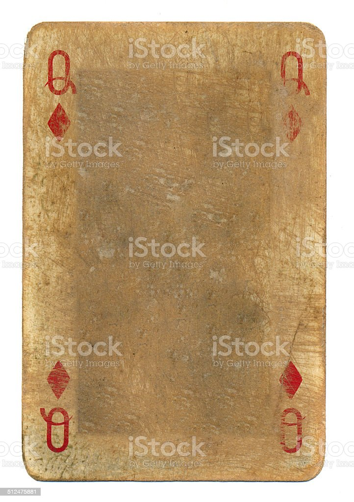 ancient  grunge playing card queen of diamonds background stock photo