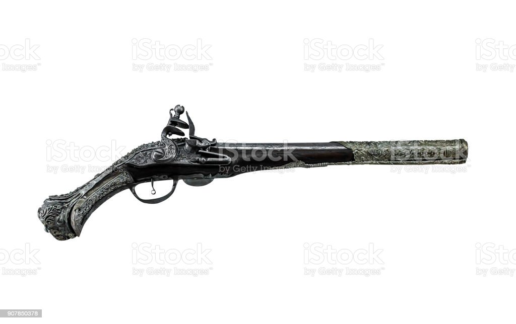 Ancient gun on a white background. stock photo