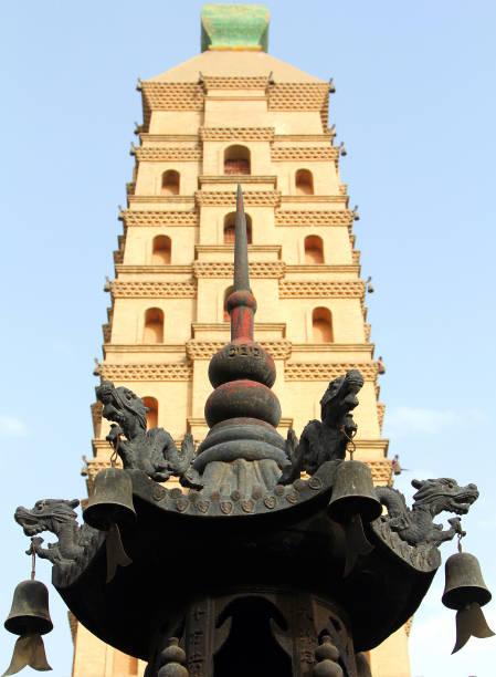 ancient haibao pagoda (sea treasure pagoda) i yinchuan, ningxia-provinsen i kina - hui architecture bildbanksfoton och bilder