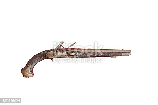 ancient handmade riffle isolated over white background, very old gun