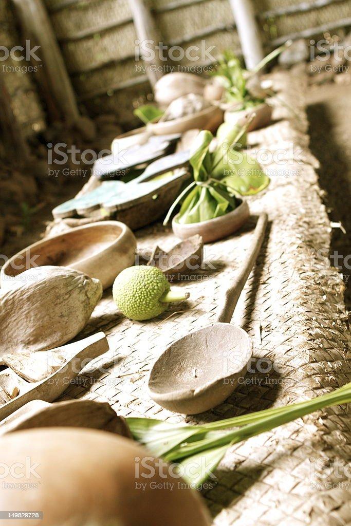 Ancient Hawaiian banquet table royalty-free stock photo