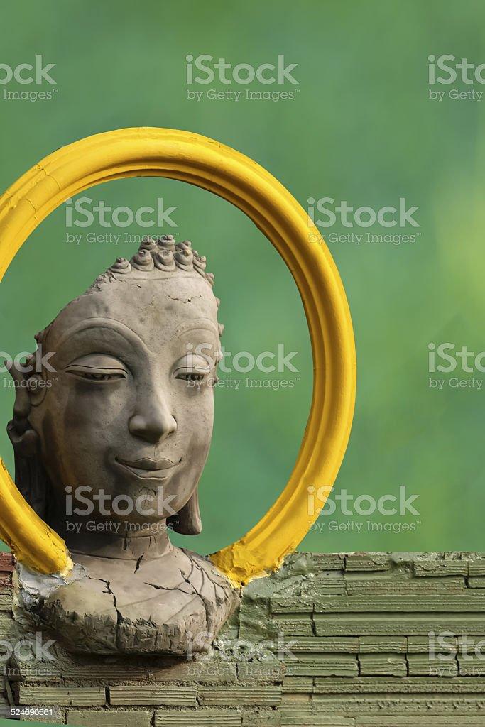 Ancient Head Buddha statue stock photo