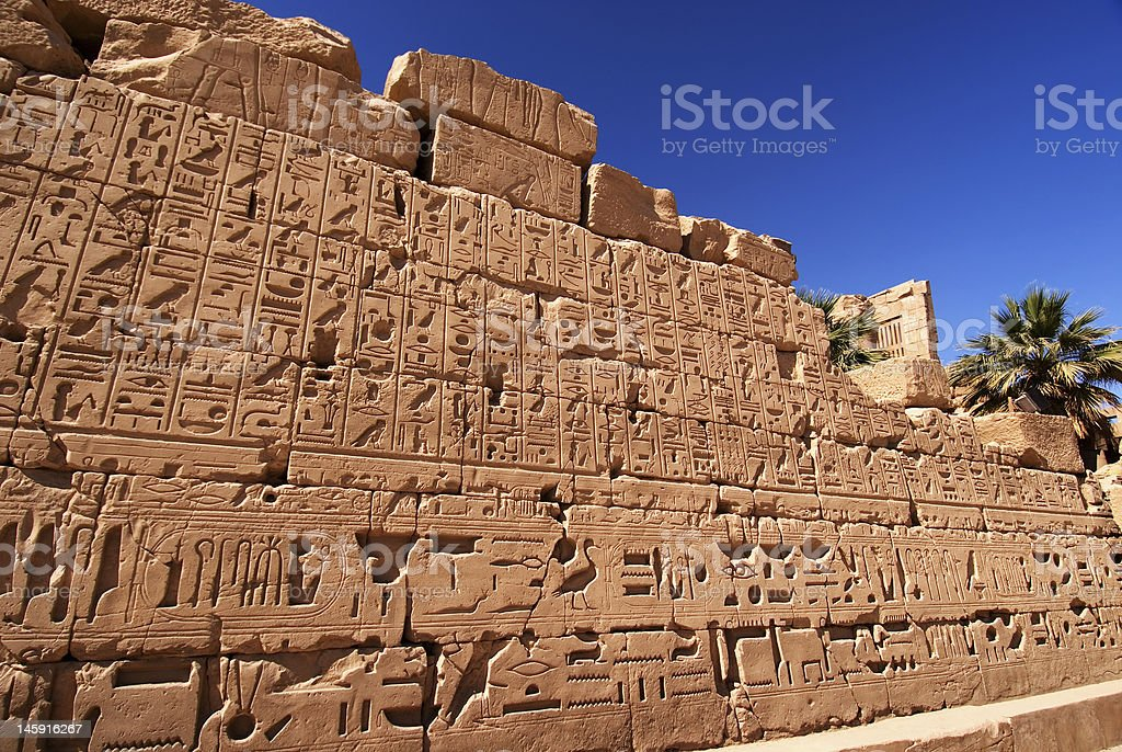 Ancient heiroglyphics in the Karnak Temple, Luxor royalty-free stock photo