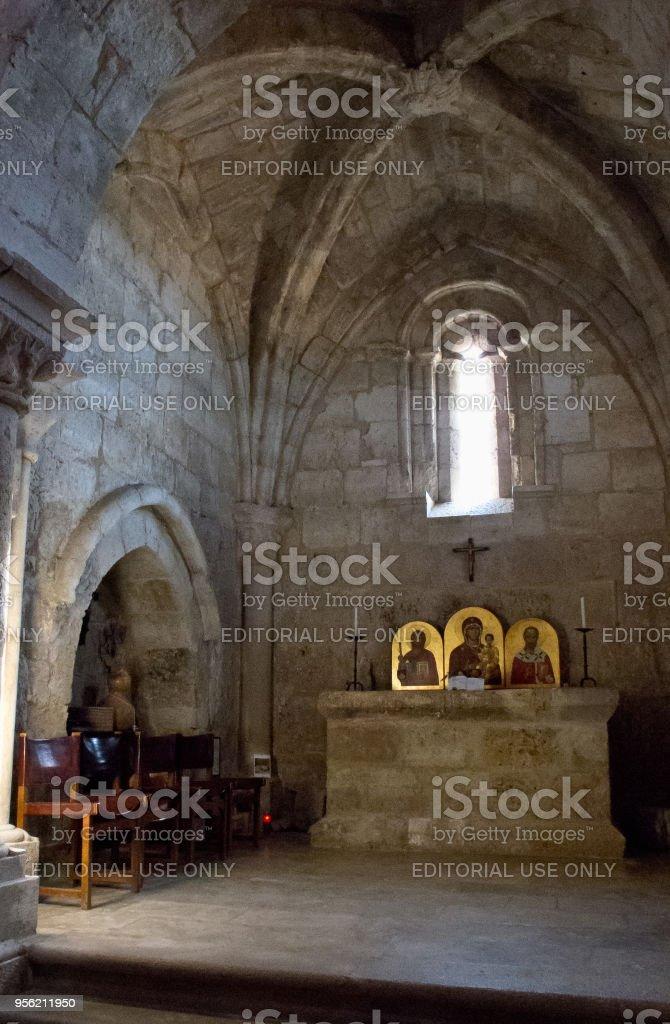 Ancient hermitage of San Nicolas de Puente Fitero, nowadays a pilgrims hostel on the Way of St James (Camino de Santiago), to Compostela stock photo