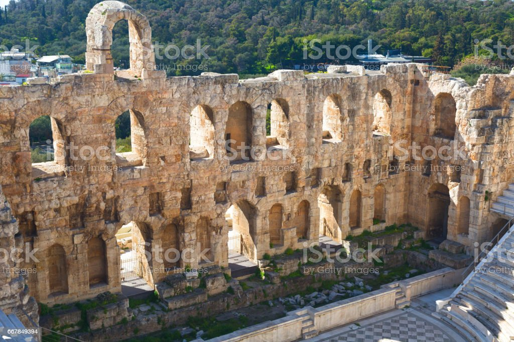 Ancient herodes atticus theater amphitheater of Acropolis of Athens stock photo
