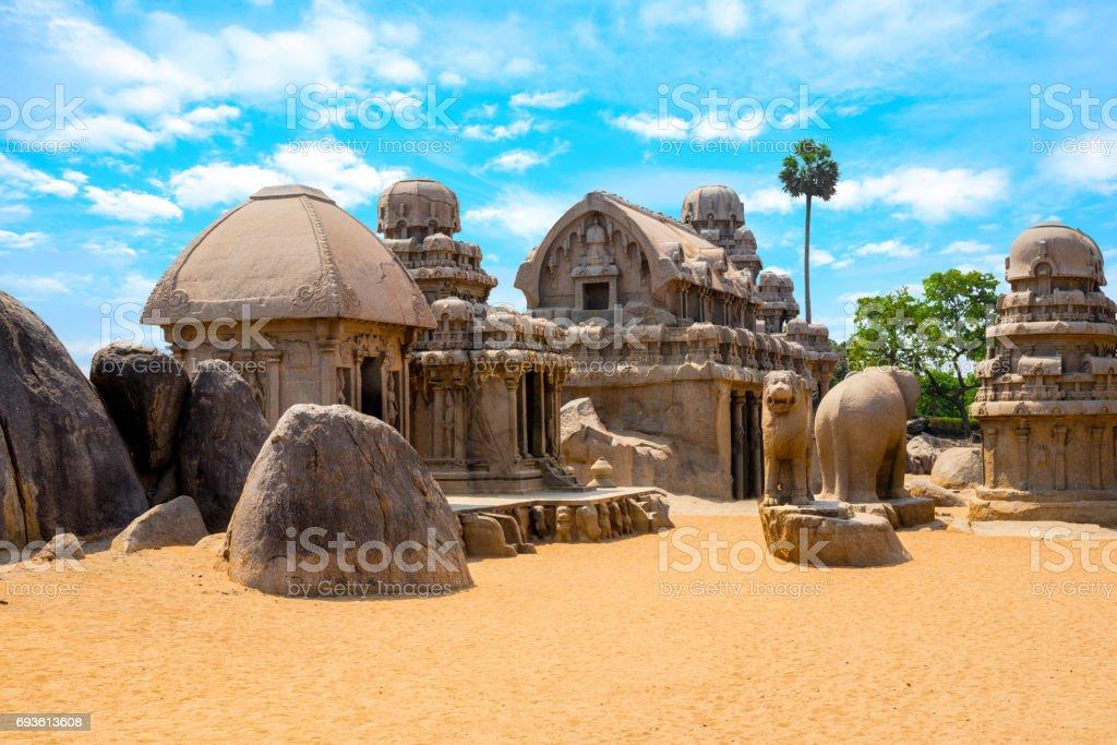 ancient Hindu monolithic Indian rock-cut architecture Pancha Rathas - Five Rathas, Mahabalipuram, Tamil Nadu, South India stock photo