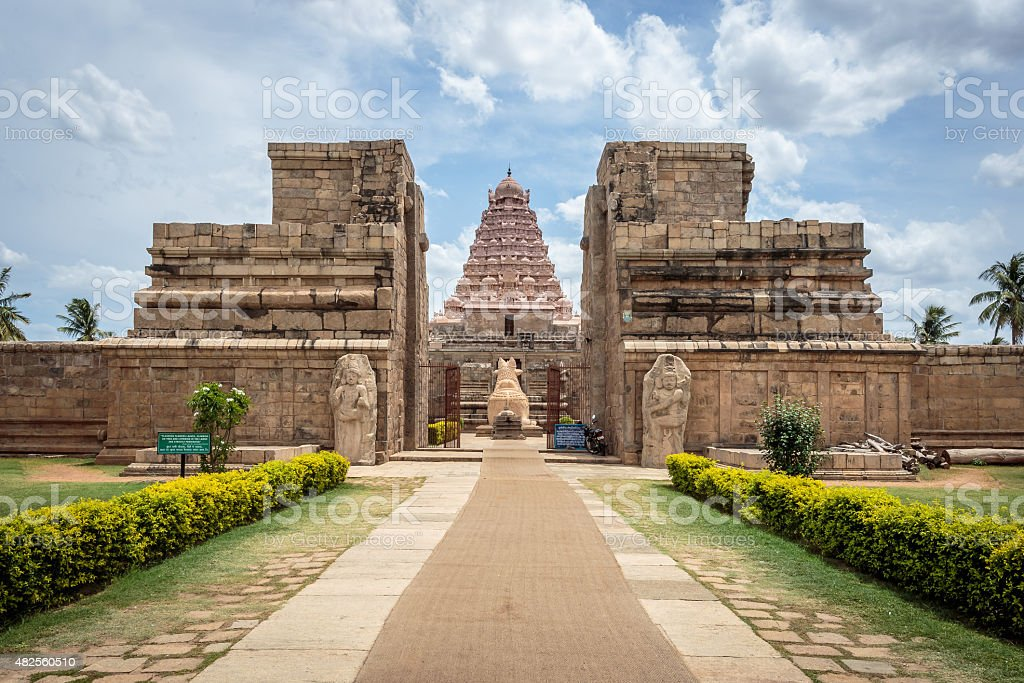Ancient Hindu temple in South India stock photo