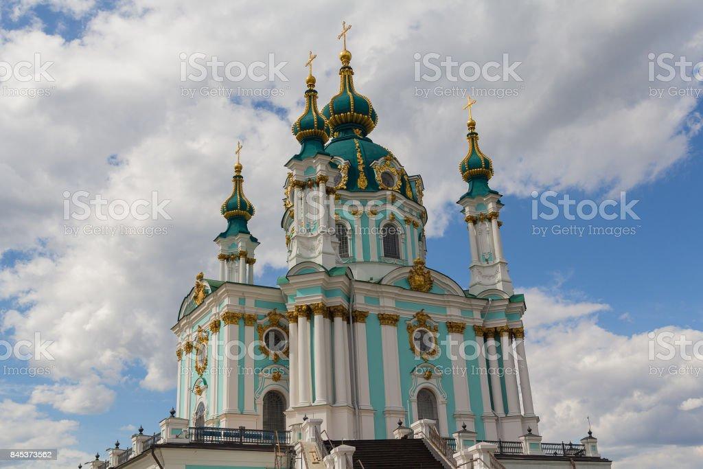 Ancient historical orthodox church of St. Andrew. Kiev, Ukraine stock photo