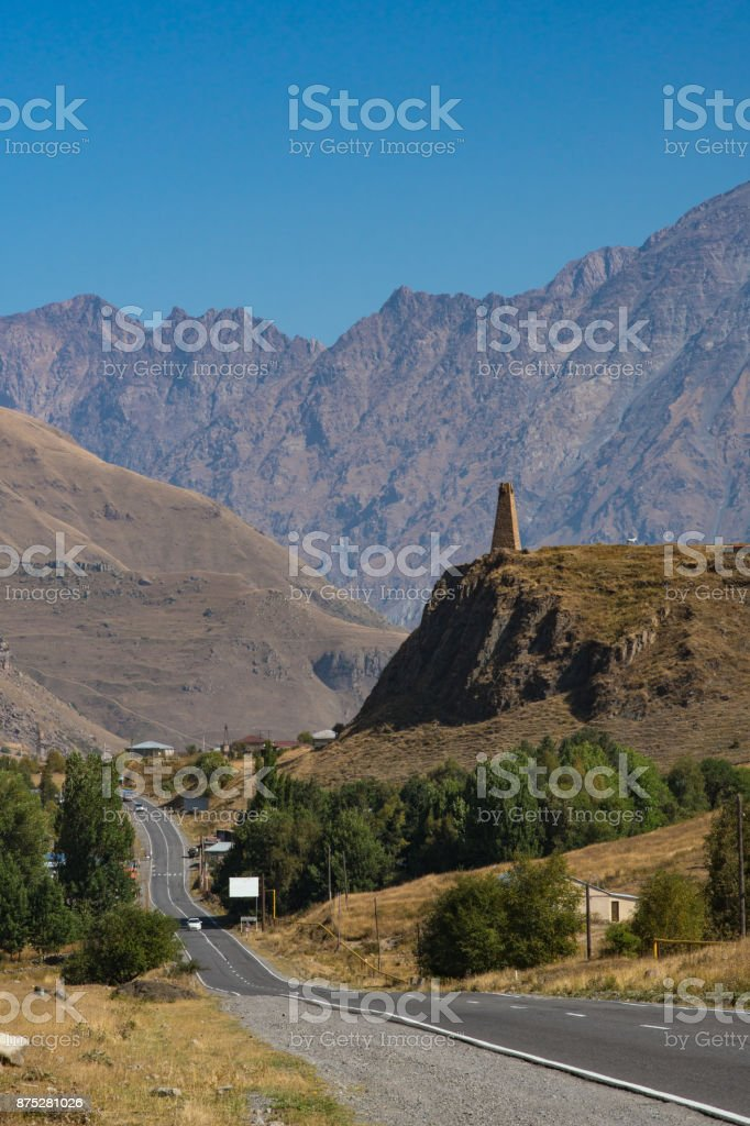 Ancient historical tower church on the mountain stock photo