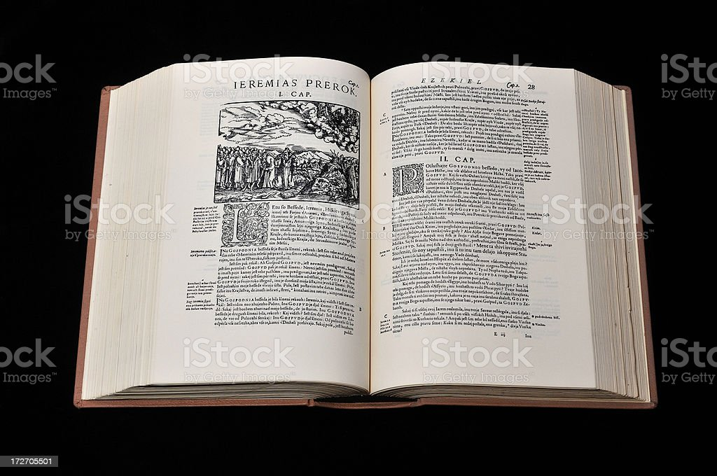 Ancient Holy Bible Book stock photo