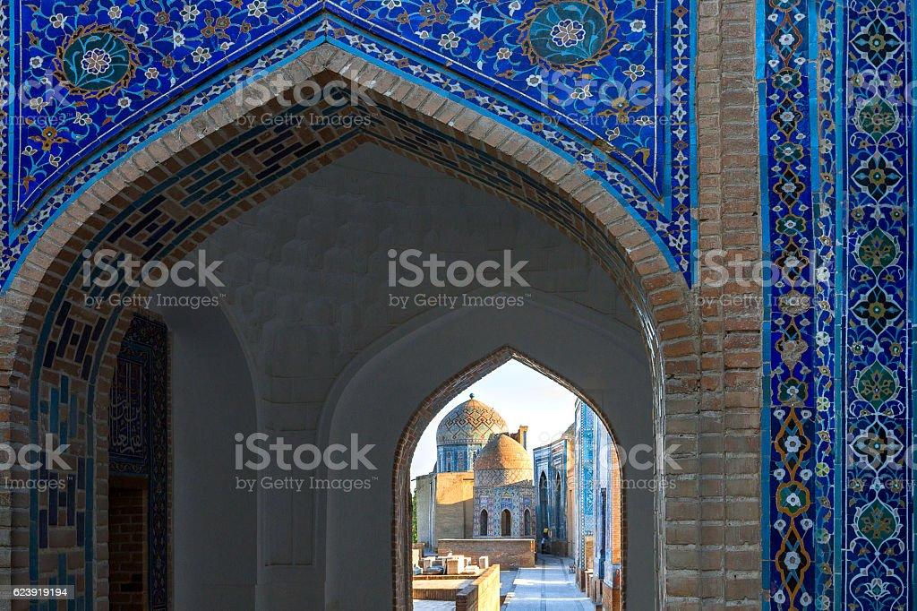 Ancient holy cemetery of Shakhi Zinda in Samarkand, Uzbekistan stock photo
