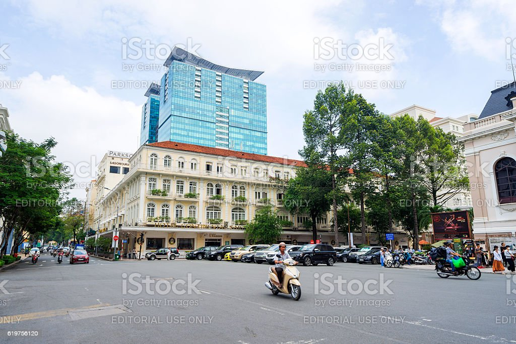 Ancient Hotel Continental at downtown of Saigon stock photo