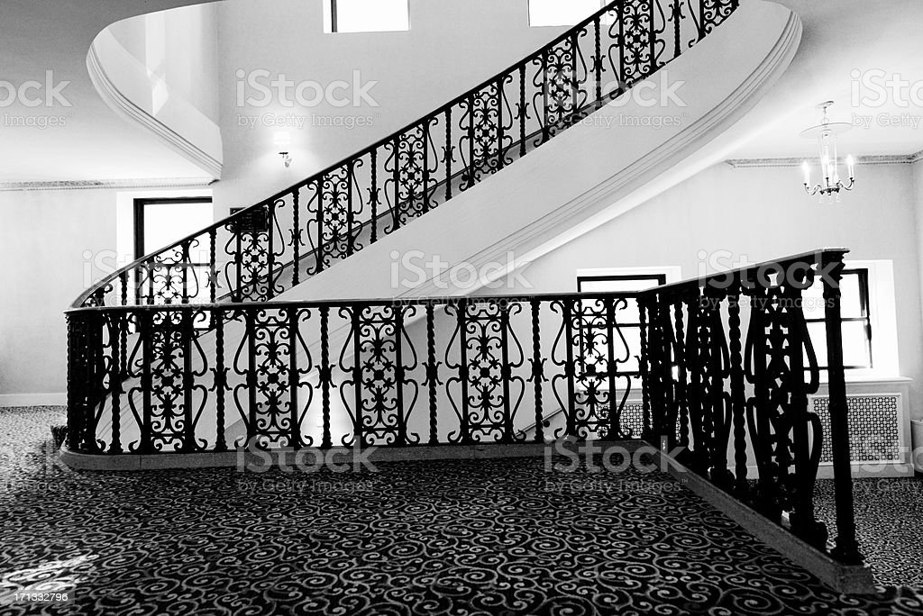 Ancient Hotel Staircase,Chicago.Black And White Royalty Free Stock Photo