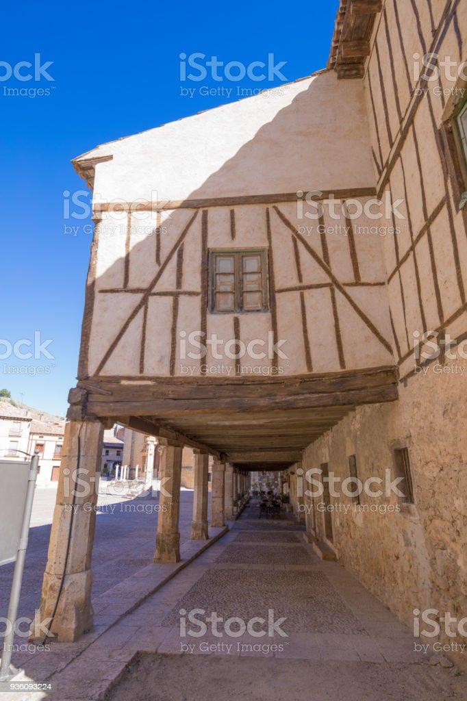 ancient house in arcaded main square of Penaranda de Duero stock photo