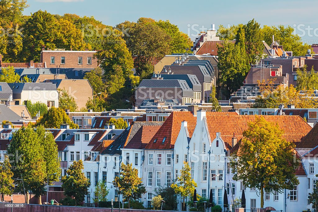 Ancient houses in the Dutch city of Nijmegen stock photo
