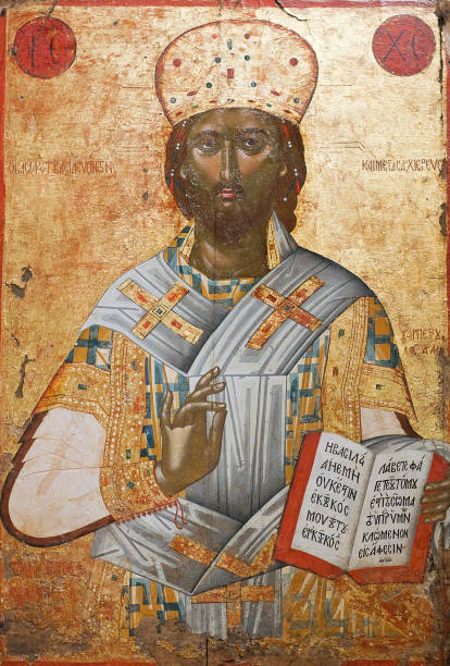 Ancient icon of Christ Great High Priest from the church of Holy Trinity, 16th cent. stock photo