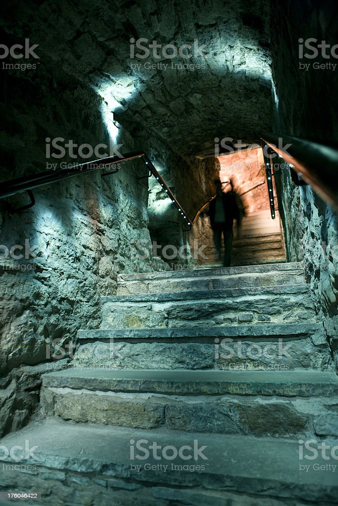 ancient illuminated staircase stock photo