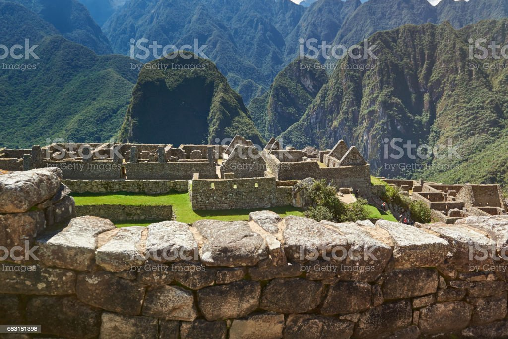 Ancient inca city in mountain landscape royalty-free 스톡 사진