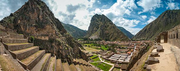 Ancient Inca Ruins Of Ollantaytambo In Peru stock photo
