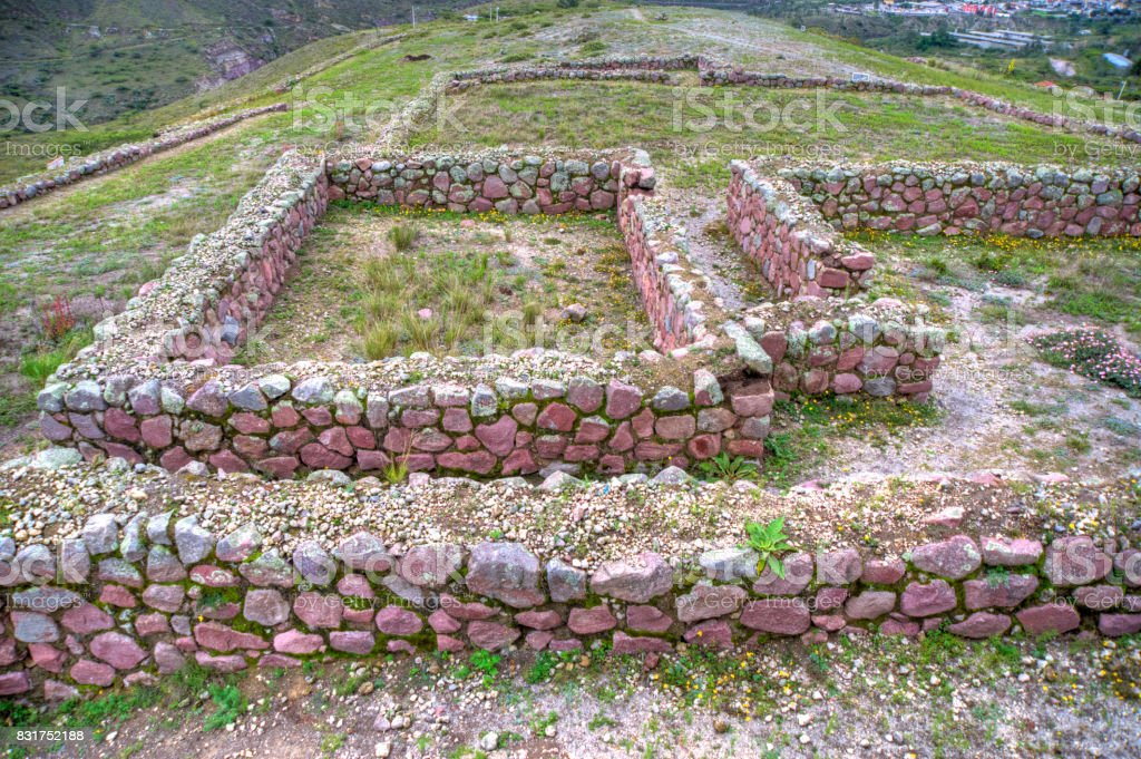 Ancient Inca ruins of Rumicucho stock photo