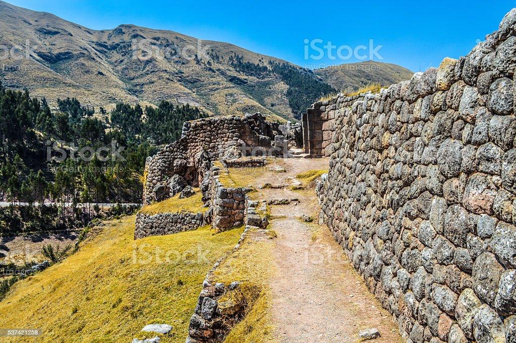 Ancient Inca ruins - Puca Pucara near Cusco, Peru stock photo