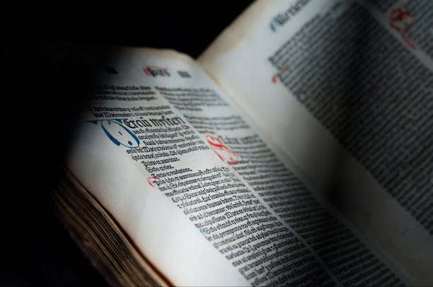 Ancient Incunablula book stock photo