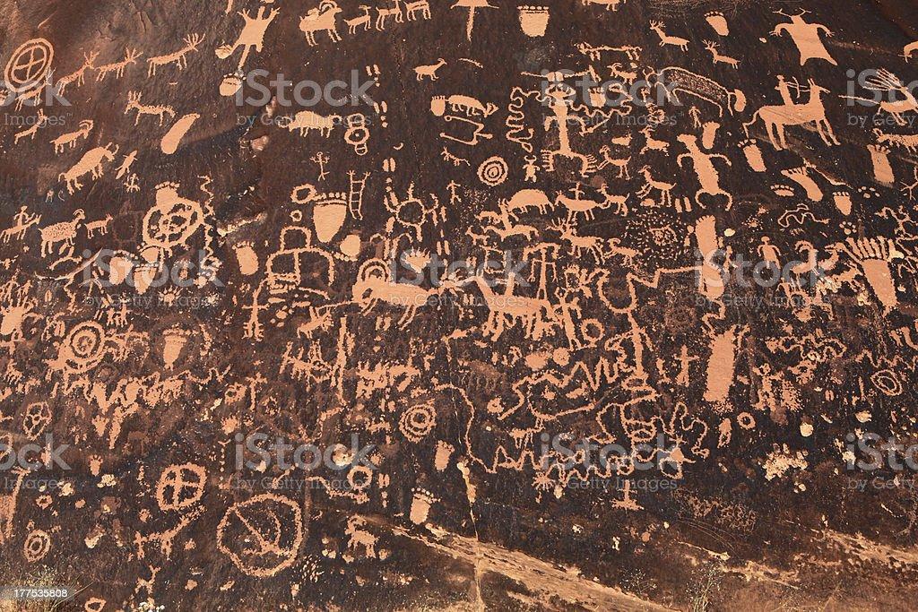 Ancient Indian Petroglyph in Moab, Utah stock photo