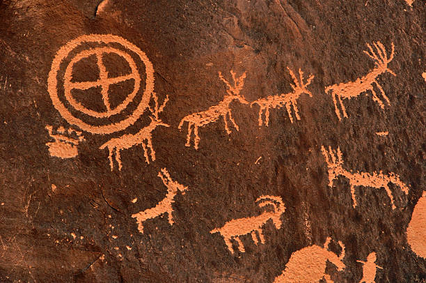 ancient indian petroglyph - hopi stock photos and pictures