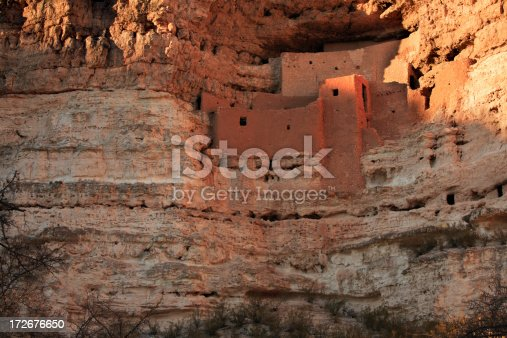 Ancient Indian ruin built by the Sinagua Indians hundreds of years ago. This is at Montezuma Castle National Monument located in Arizona near Sedona.