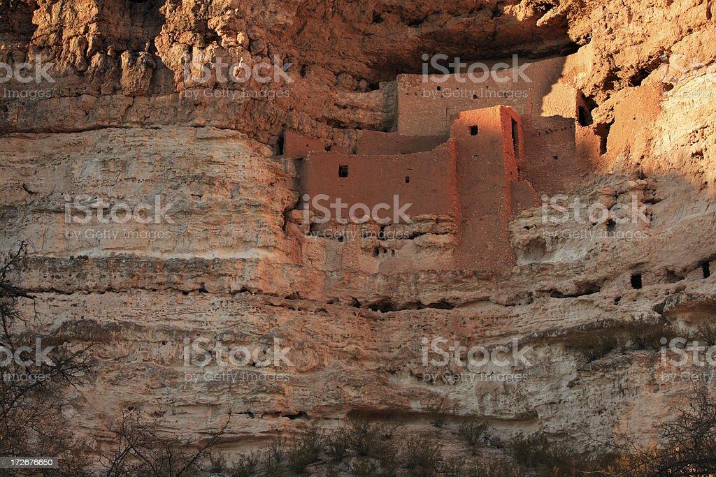 Ancient Indian Pueblo built into cliffs stock photo