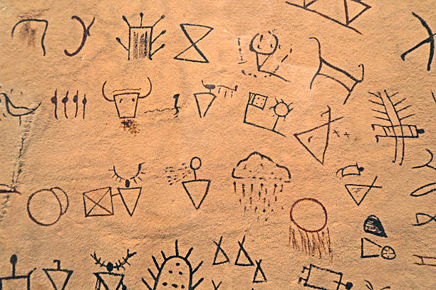 Ancient Indian Symbols Drawn On A Piece Of Cured Leather Stock Photo
