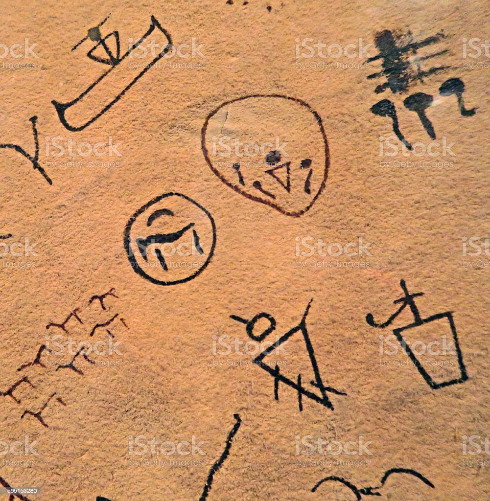 Ancient indian symbols drawn on a piece of cured leather stock ancient indian symbols drawn on a piece of cured leather royalty free stock photo buycottarizona Choice Image