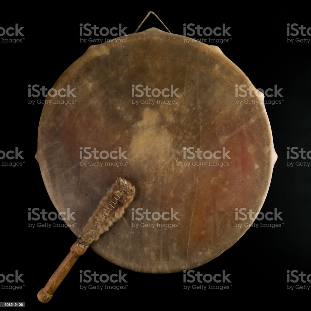 Ancient indian tambourine drum drumstick replica royalty-free stock photo