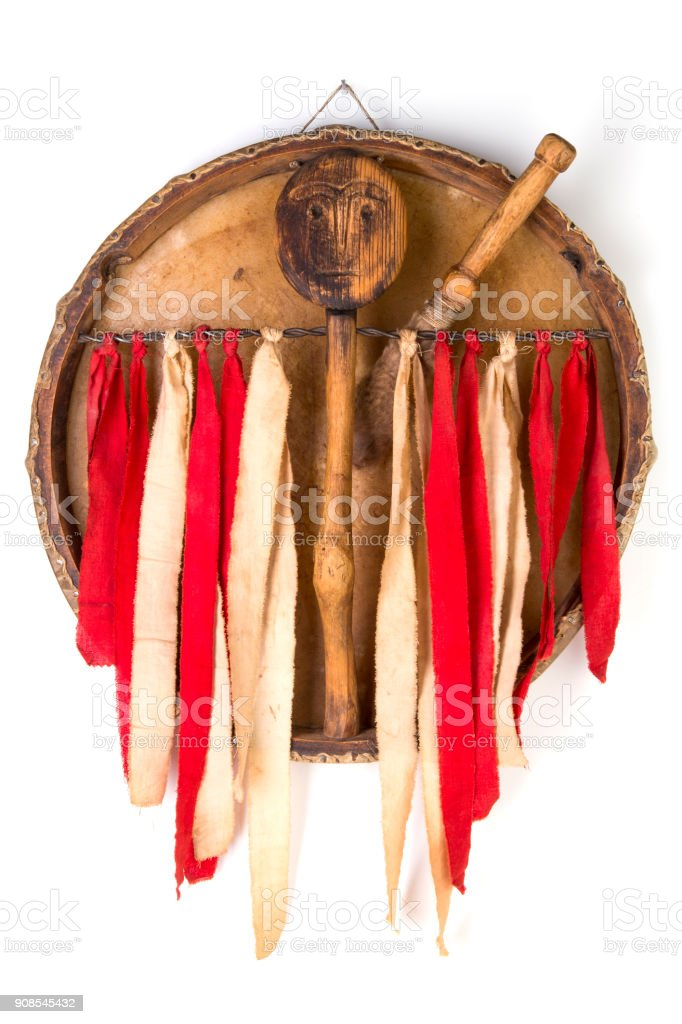 Ancient indian tambourine drum drumstick replica - Royalty-free Ancient Stock Photo