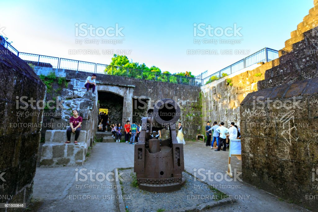 A ancient iron cannon at Spanish colonial Intramuros district in Manila, Philippines stock photo