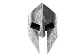 istock Ancient iron spartan head protection isolated on white. 1281433750
