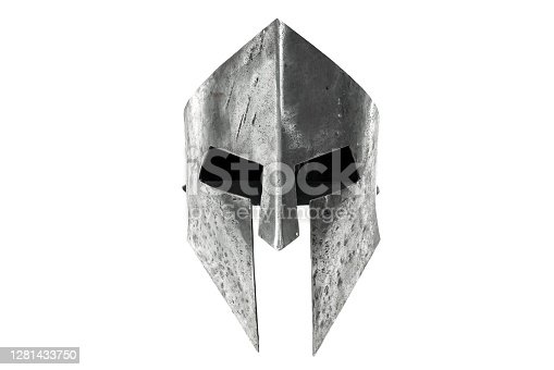 Front view of ancient iron spartan helmet isolated on white studio background. Medieval armor, archeological souvenir from past times, metal tough head protective clothes.